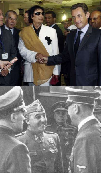 Sarkozy, Khadafi, Hitler, Franco